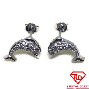 Cute Dolphin white CZ stud Earrings White gold